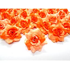 """(100) Silk Two Tone Orange Roses Flower Head - 1.75"""" - Artificial Flowers Heads Fabric Floral Supplies Wholesale Lot for Wedding Flowers Accessories Make Bridal Hair Clips Headbands Dress 2"""