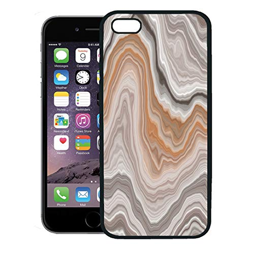Semtomn Phone Case for iPhone 8 Plus case,Green Agate Wide Onyx Slice Beige Stone Marble Gem Bar Carnelian iPhone 7 Plus case Cover,Black ()