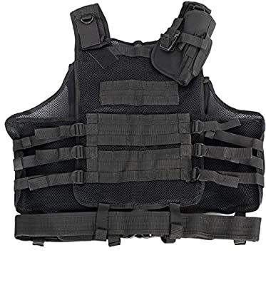 Tactical Vest Black for Hunting, Police, SWAT with pistol / gun holster / pouches / by VIVO (VEST-V01B)