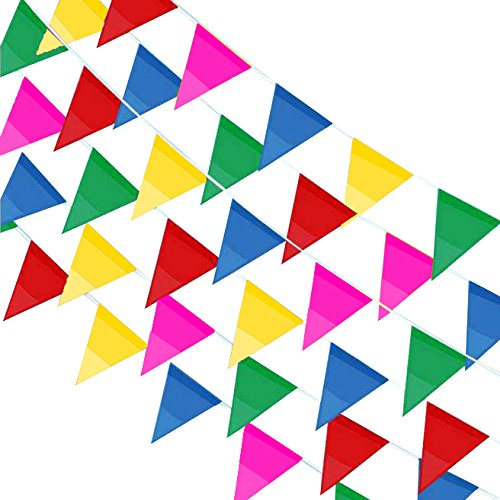 Price comparison product image JUSLIN 400PCS Colorful Flag Pennants Multicolor Pennant Banner Nylon Cloth Banner for Party Celebrations and Shops