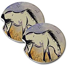 Natural Sandstone Car Drink Coasters (set of 2) - Marsh Tacky Pony in Purple Mustang Wild Horse Art by Denise Every