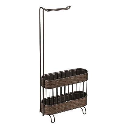 Interdesign Twillo Free Standing Metal Toilet Paper Holder And Magazine Rack For Master Guest Kids Bathroom 4 30 X 10 40 X 23 90 Bronze