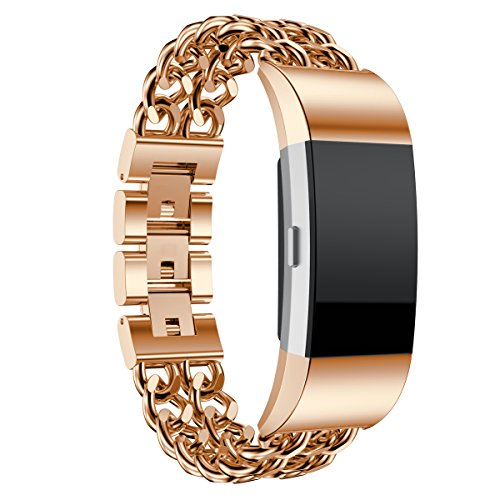 Maxjoy for Fitbit Charge 2 Bands - Stainless Steel Bracelet Strap Charge2 HR Wristband Metal Replacement Band for Fitbit Charge 2 Heart Rate Fitness Tracker for Women (Double Chain, Rose Gold - Small)