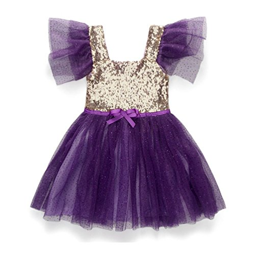 [R&V Sequin Dresses for Little Girls Princess Ballerina Party 4Colors (130(suggested 4-5Y), Purple)] (Little Girl Pageant Costumes)