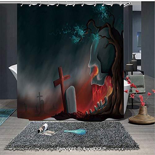 AngelDOU Halloween Polyester Waterproof Shower Curtain Graveyard Cemetery