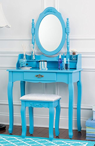 Fineboard Vanity Table Set Wooden Dressing Table with Single Mirror, Blue