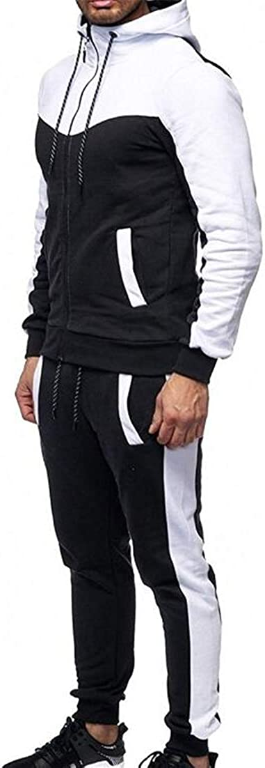 X-Future Mens Colorblock Sports Zipper Tracksuit Hoodies Long Pants Two Piece Jogging Running Outfit Set