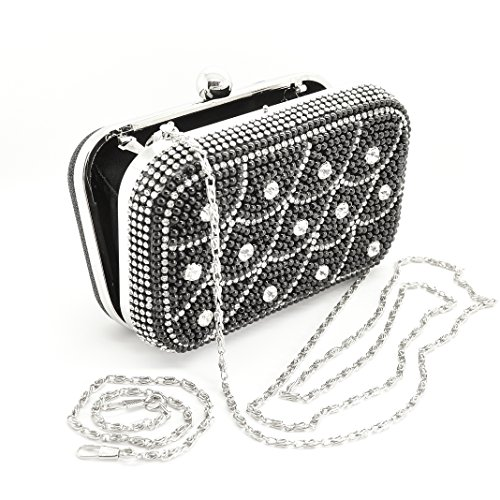 Donna Nero con cristalli austriaci, Diamante e lurex pochette/Cocktail/Sera Borsa