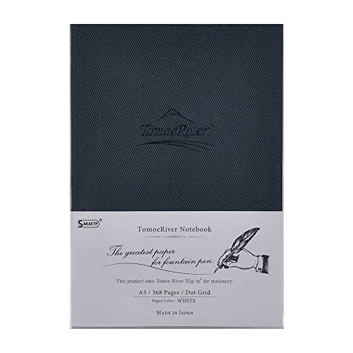 "Tomoe River FP Notebook, 5.85"" x 8.27"", 368 pages (184-Sheet), Hard Cover, Dot Grid, White (TMR-A5NDW)"