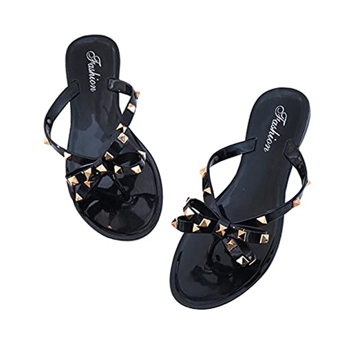 8dbd919f3 Womens Bow Flip Flops Sandals Studded Jelly Shoes Summer Beach Thong  Slippers Black
