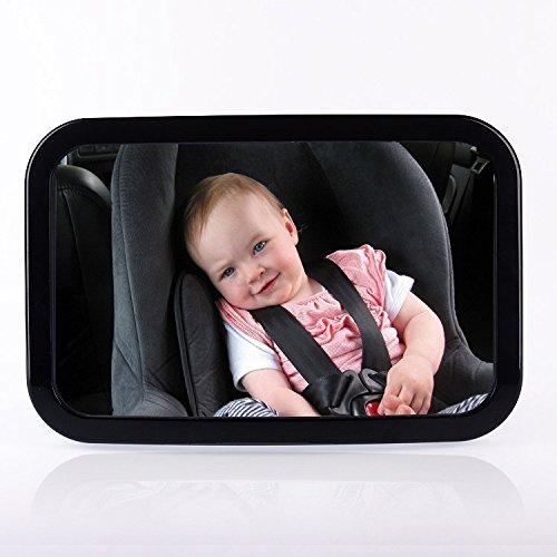 Toypoly - Extra großer Rücksitzspiegel für Baby, Sicherheitsspiegel für Babyschalen, Einstellbar und Bruchsicher, 360 Grad drehbar