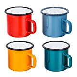 TeamFar Tea Coffee Mug Set of 4, Enamel Drinking Mugs Cups for Home Use/Office/ Party or Camping, Bright Colors and Classic Look - 12 ounce
