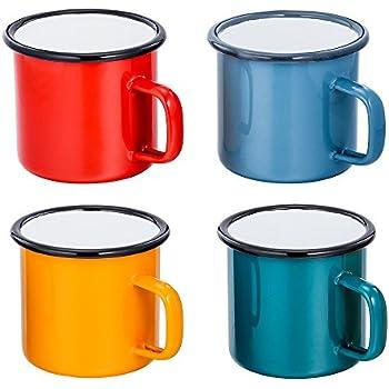 Amazon.com   Enamelware Coffee Mug - Solid White with Blue ...