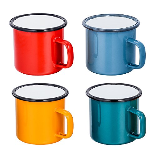 Personalized Plastic Mugs - TeamFar Tea Coffee Mug Set of 4, Enamel Drinking Mugs Cups for Home Use/Office/Party or Camping, Bright Colors and Classic Look - 12 ounce