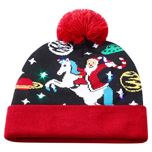 Uideazone Winter Windproof Hat Santa Claus Riding Light Up Beanie Hats for Christmas -