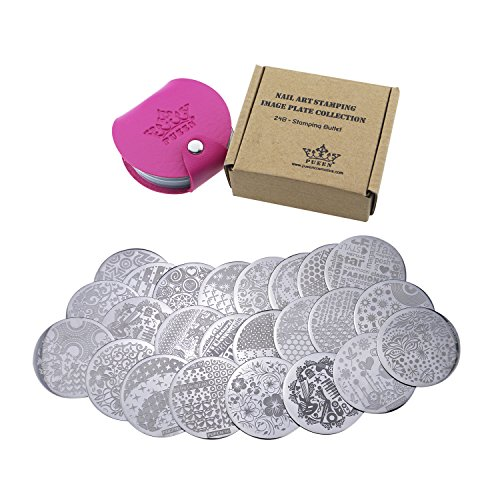Collection Set 24B - STAMPING BUFFET - NEW INVENTION Set of 24 All You Can Stamp Full Size Stamping Image Plates Manicure DIY (Infinite Images With Your Creativity) Now with BONUS Storage Case-BH000017 ()