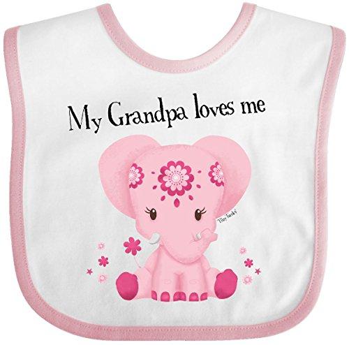 (Inktastic - Aditi My Grandpa loves me Baby Bib White/Pink - Tiny Tusks 30350 )