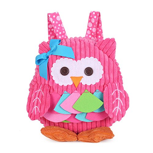 Mini Toddler Backpack Cute Kids 3D Animal Cartoon Small Plush Backpack for Infant Baby Girl Boy Age 6 Month- 2 Years (Pink Owl)