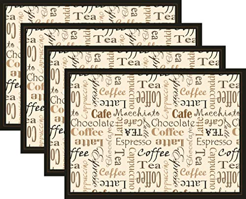 (Blissful Living Set of 4 Placemats, Heat Stain Resistant - Decorate Your Kitchen Table Our Beautiful Rectangle pad placemat (Coffee Words))