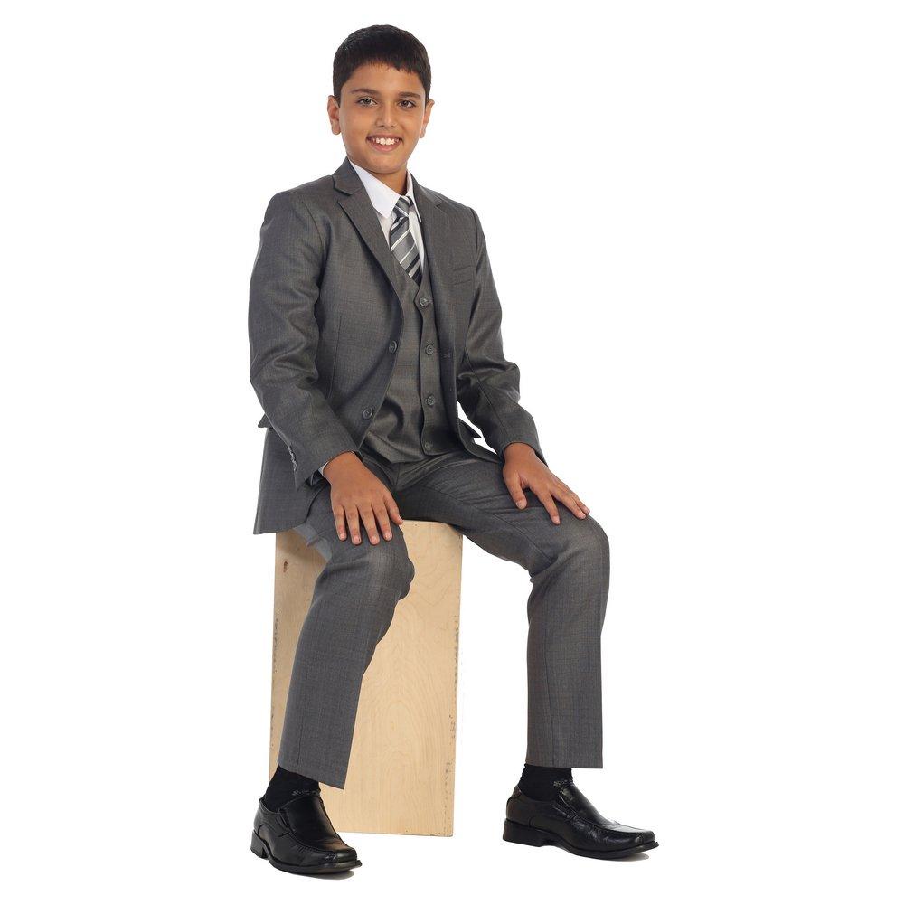 Big Boys Linen Gray Vest Pants Jacket Necktie White Shirt 5 Pcs Suit Set 8-18 B-One
