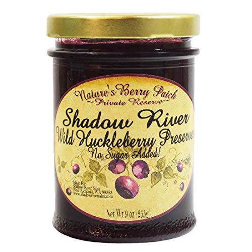 Shadow River Wild Huckleberry Gourmet Berry Jam Preserves With No Added Refined Sugar, 9 oz