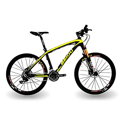 BEIOU® Carbon Fiber Mountain Bike Hardtail MTB SHIMANO M610 DEORE 30 Speed Ultralight 10.8 kg RT 26 Professional External Cable Routing Toray T800 CB005