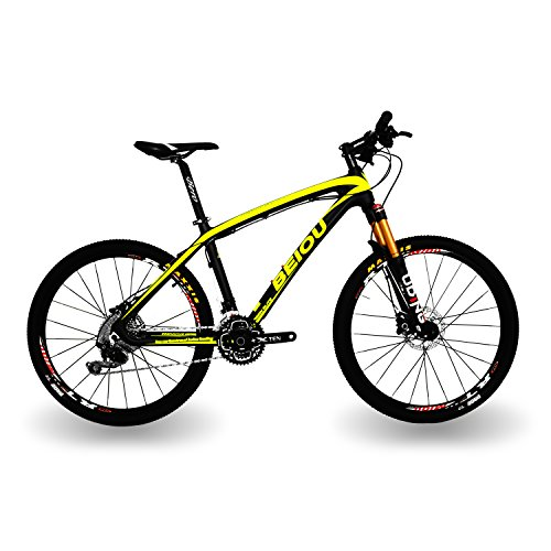 - BEIOU Carbon Fiber Mountain Bike Hardtail MTB Shimano M610 DEORE 30 Speed Ultralight 10.8 kg RT 26 Professional External Cable Routing Toray T800 Matte CB005 (Yellow, 15-Inch)