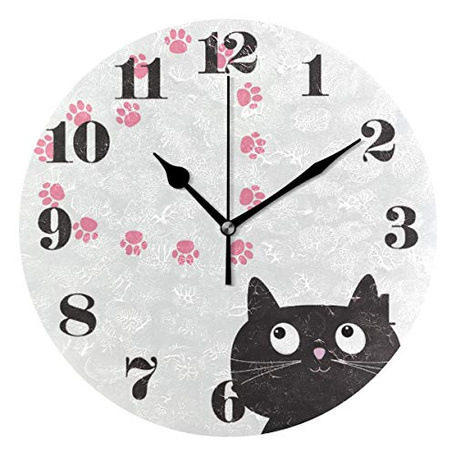 senya Wall Clock Silent Non Ticking, Round Cat and Paw Print Art Clock for Home Bedroom Office Easy to Read