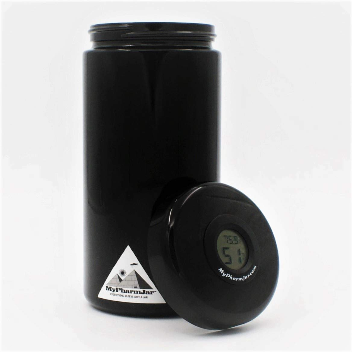 Glass Herb Stash Jar, Smell Proof, Air-tight herb container, Holds 2oz with embedded temp/humidity sensor in lid