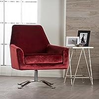 Aegis New Velvet Modern Swivel Club Chair (Garnet)