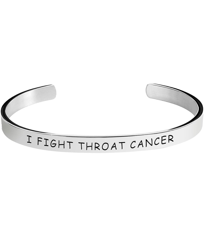Throat Cancer Awareness Bracelets - Stamped Bracelet for Men / Women