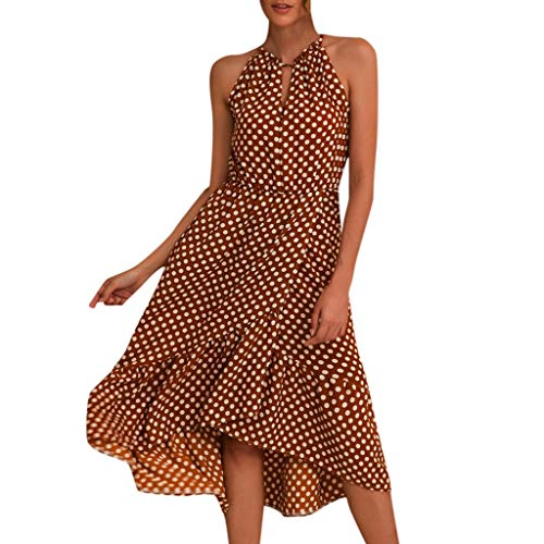 Women Boho Dot Print Halterneck Spotted Belt Ladies Summer Midi Sun Dress Coffee
