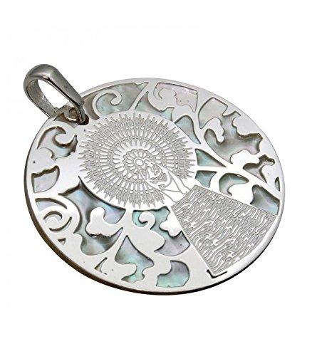 Médaille Vierge pilier en argent de loi et nacre. 35mm