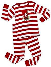 Kids Christmas Pajamas Boys Girls & Toddler Pajamas Red White Green 2 Piece Pjs Set 100% Cotton (12 Months-14...
