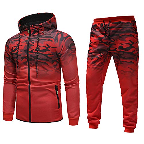 Men's Autumn Winter Outdoor Slim Fit Camouflage Sweatshirt Top Splicing Drawstring Pants Sets Sports Suit Tracksuit