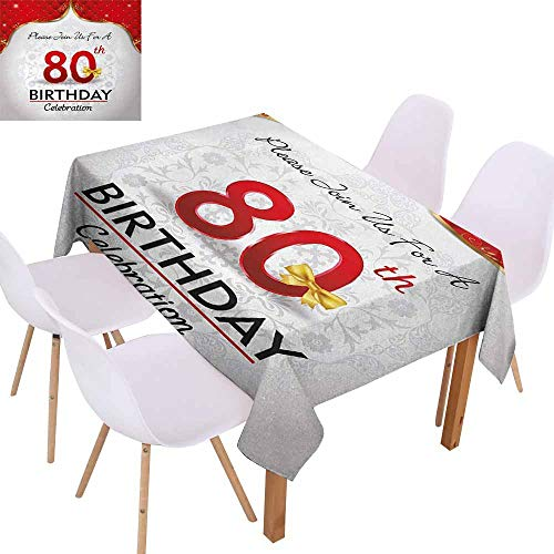 UHOO2018 80th Birthday,Rectangle Tablecloth,Birthday Party Invitation with Abstract Floral Backdrop Elderly,for Weddings, Banquets, or Restaurants,Red Silver and Golden,73