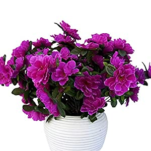 Lopkey 6 Heads Azalea Artificial Bush Flowers Bouquet Wedding Home Decor Purple 86