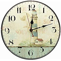 RELIAN Decorative Lighthouse Wall Clock Silent Non Ticking for Living Room Kitchen Bathroom Bedroom Decor 12""
