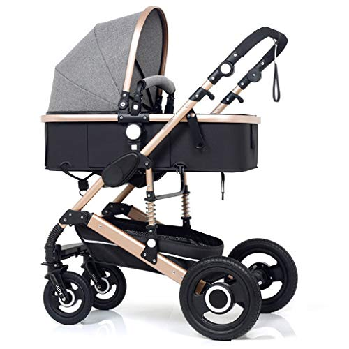 High Landscape Pram Travel System 3 in 1 Stroller Buggy Two-Way Baby Pushchair Foldable Height-Adjustable Strollers & Buggies (Color : Gray, Size : 34.2524.0142.91inch)
