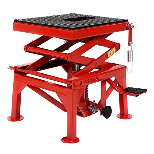 108siam New 300lb Motorcycle Hydraulic Scissor Floor Jack Lift Hoist Center Stand Lift. Lift For Motorcycle, ATV's, Lawn Tractors, Dirt Bikes, Mopeds And More Lift Foot Pedal Lift Table Size: 360x450m