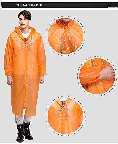 CTKcom 4Pcs Disposable Raincoats,Portable Reusable with Hoods and Sleeves Rain Coats Waterproof Lightweight Rain Coat Perfect for Camping Hiking Sport Outdoor Activities For Men and Women (Orange) by CTKcom (Image #3)