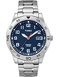 Timex TW2P61500GP Men's Casual Blue Watch with Silver Expansion Band