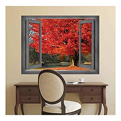 Open Window Creative Wall Decor - Goregous Birghtly Colored Tree Surrounded by Red-Orange Leaves - Wall Mural, Removable Sticker, Home Decor - 36x48 inches