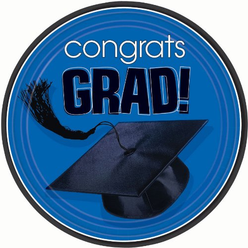 Congrats Grad Royal Blue Dessert Plates, 18ct