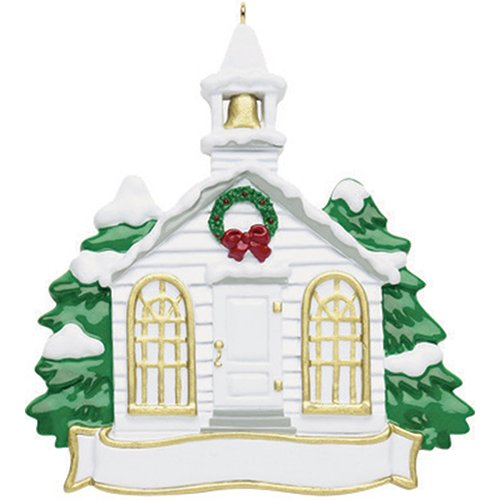 Personalized Church Christmas Tree Ornament 2019 - Garnished Steeple Holy Christian Worship House of God Pray Glory Love Gift Religious Winter Eve Carols Tradition Year - Free Customization