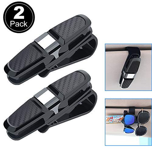KIPIDA Glasses Holder for Car Sun Visor, 2 Pack Double-Ended 180 Degree Rotatable and Built-in Sponge Sunglasses Eyeglasses Clip Hanger with Card Ticket ()
