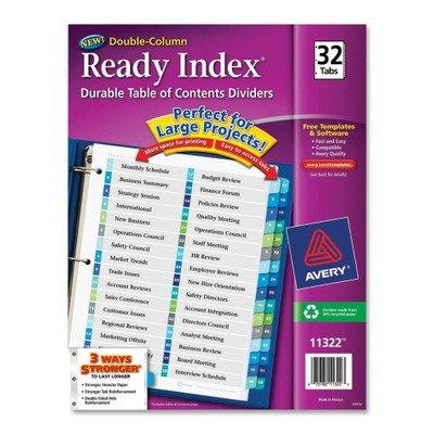 (3 Pack Value Bundle) AVE11322 Ready Index Two-Column Table of Contents Divider, Title: 1-32, Multi, Letter ()