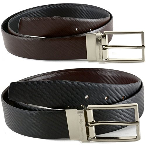 Alpine Swiss Mens Dress Belts Reversible Black Brown Leather Imported from Spain Alpine Swiss