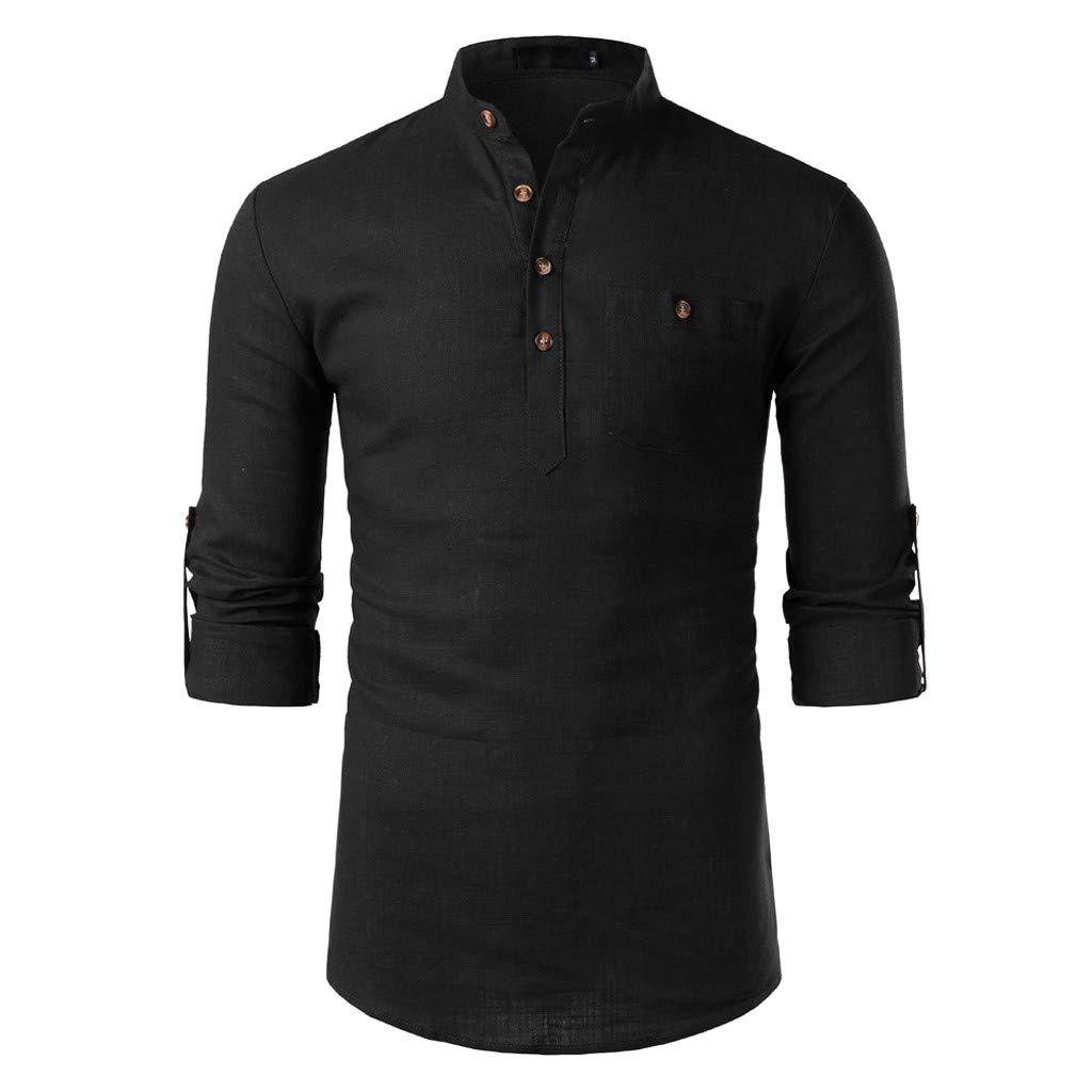 LUCAMORE Men Casual Solid Linen Long Sleeve T-Shirt Fashion V-Neck Button Up Shirts Slim Fit Blouse Tops Black