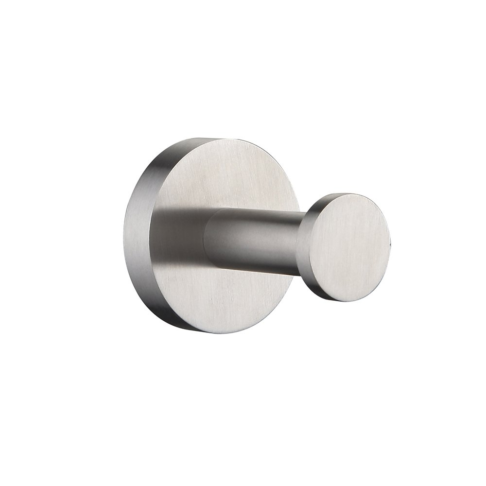 Mellewell Contemporary Robe Hook Coat and Hat Hanger for Bathroom Wall Mounted, Stainless Steel Brushed Nickel, 06003HK